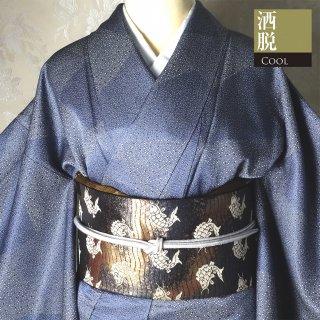 【江戸小紋】青い大小あられの切り嵌め模様