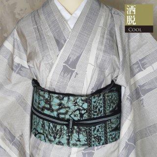 【大島紬 [袷] 】白大島紬 スッキリとした竹模様織