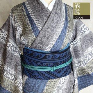 【小紋[袷]】青と白い縞とプリミティブな模様
