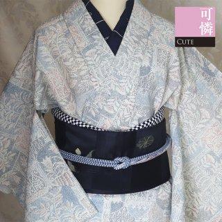 【紬風[単衣]】白地 窓辺に草花柄 染め サマーウール混紡