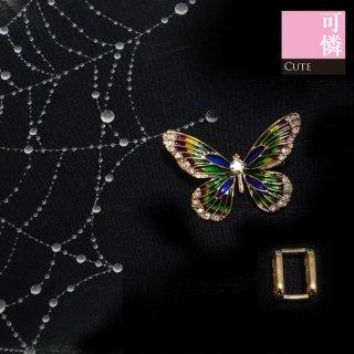 【帯留め金具付きブローチ】緑、紫、青に輝くエナメルの蝶のブローチ