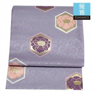 【袋帯】薄紫 亀甲に牡丹