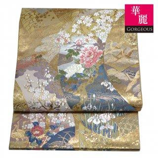 【六通袋帯】 四季花の絵巻文袋帯