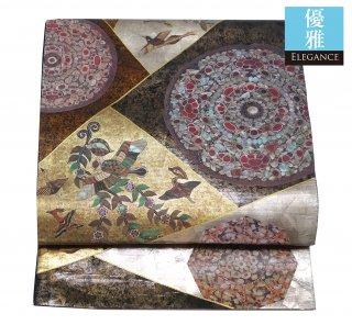 【袋帯】正倉院風 宝飾鏡  瑞鳥文様の切嵌 引箔