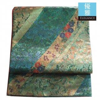 【袋帯】エメラルド色とモスグリーンの斜めのライン