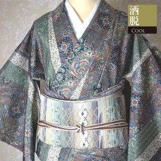 【大島紬[袷]】江戸古代更紗模様 大島紬 証紙あり