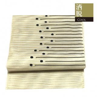 【京袋帯[絽]】生成色の地に黒のラインとドット