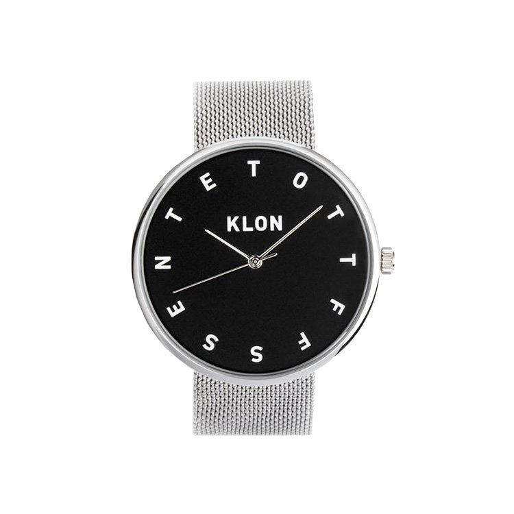 KLON ALPHABET TIME THE WATCH -SILVER MESH- 【BLACK SURFACE】