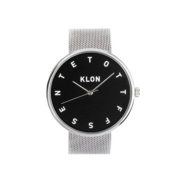 KLON ALPHABET TIME THE WATCH -SILVER MESH- 【BLACK SURFACE】 40mm