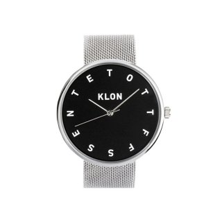 KLON ALPHABET TIME THE WATCH -SILVER MESH- 【BLACK SURFACE】 40mm