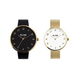 KLON MOCK NUMBER GOLD PAIR WATCH