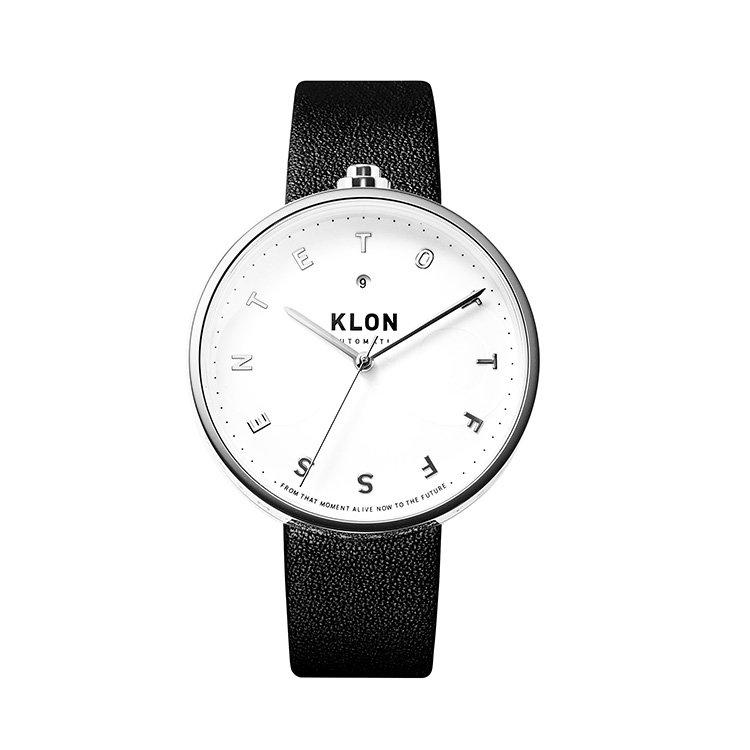 KLON AUTOMATIC WATCH BLACK LEATHER -ALPHABET TIME- 43mm