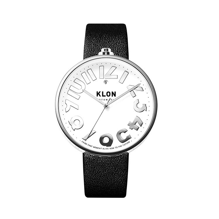 KLON AUTOMATIC WATCH BLACK LEATHER -HIDE TIME- 43mm