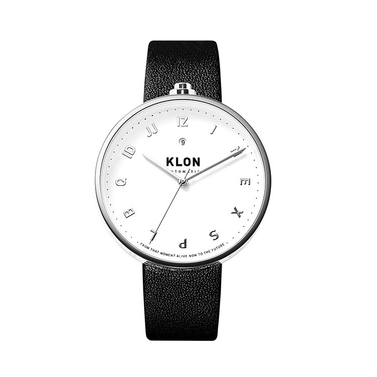 KLON AUTOMATIC WATCH BLACK LEATHER -MOCK NUMBER- 43mm