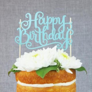 ケーキトッパー HAPPY BIRTHDAY 紙製 ライトブルー