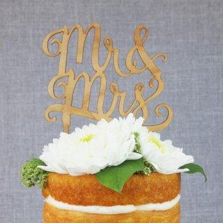 ケーキトッパー MR&MRS 木製