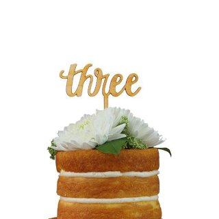ケーキトッパー THREE スクリプト 木製