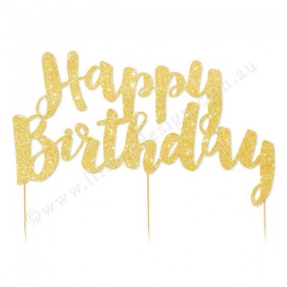 <img class='new_mark_img1' src='//img.shop-pro.jp/img/new/icons1.gif' style='border:none;display:inline;margin:0px;padding:0px;width:auto;' />【illume design】Happy Birthday グリッターペーパー ケーキトッパー ゴールド