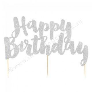 【illume design】Happy Birthday グリッターペーパー ケーキトッパー シルバー