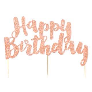 【illume design】Happy Birthday グリッターペーパー ケーキトッパー ローズゴールド