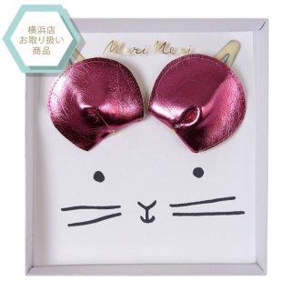 【MeriMeri】ピンクねずみのヘアクリップ(50-0144)