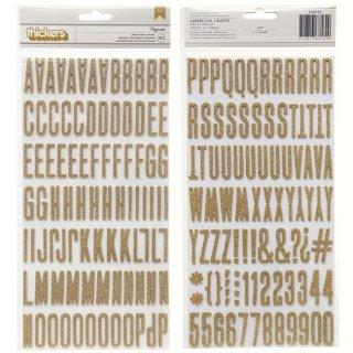 【American Crafts】アルファベット&数字  ゴールドラメ ステッカー ミニサイズ ぷっくりシール