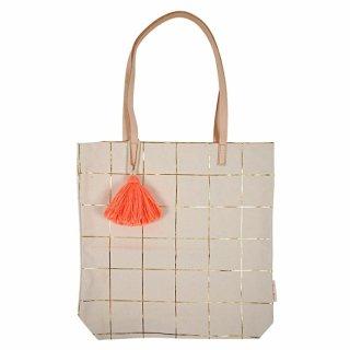 【MeriMeri】ネオンオレンジのフリンジがついたゴールド箔プリントの格子柄トートバッグ(30-0075)