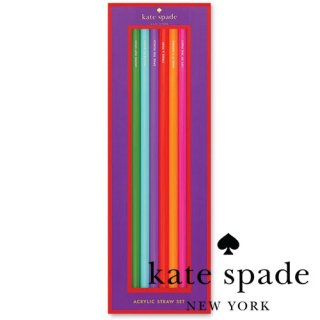 【Kate Spade】acrylic straw set  Multi-Color アクリルストロー 6本入り 22cm(137848)
