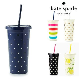 SALE◆【Kate Spade】Tumbler with Straw  Larabee Dot Navy ストロー付きタンブラー(165057)