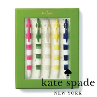 【Kate Spade】Pen Set Rugby Stripe ボーダー柄ボールペンセット 5色セット(176030)