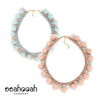 【ooahooah ウーアウーア】pom pom+フリンジ ネックレス / ピンク or ミント 全2種類