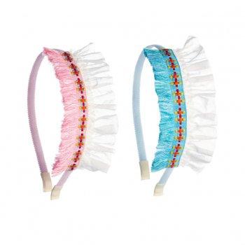 【ooahooah ウーアウーア】ネイティブアメリカン風 カチューシャ /ピンク or ブルー 全2種