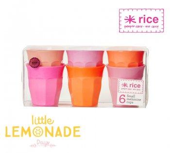 【RICE】メラミンカップ Sサイズ6個セット/pink&orange(MELCU-6SIOXC)