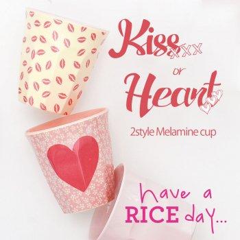 【RICE】プリントメラミンカップ/Kiss/Heart/ 2バリエーション