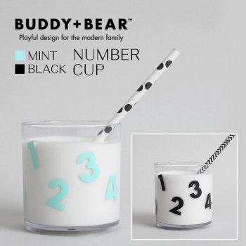 【BUDDY+BEAR バディーアンドベアー】ナンバー 数字【コップ タンブラー 透明 カップ】(ブラック:BBTW025 ミント:BBTW026)