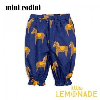 【Mini Rodini】 うま テキスタイル パンツ 【92/98】1.5-3歳 Horse woven bloomers NAVY ズボン SS SALE