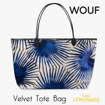 【WOUF】ベルベット トートバッグ【Blue Palms Velvet Tote Bag】(WOOUF!) (HA180001)