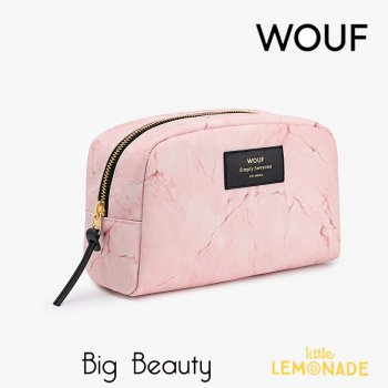 【WOUF】化粧品ポーチ【Pink marble】 Big Beauty大理石柄 ピンク(WOOUF!) (MB180005)