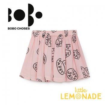 【BOBO CHOSES】 ハッピーサッド ピンクのフレアスカート 【2-3歳/4-5歳/6-7歳】(218085) SALE