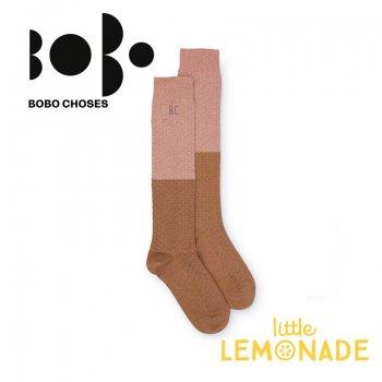 【BOBO CHOSES】ロング ソックス ジュニア ラメ ブラウン×ピンク(12.5-14cm/14.5-16cm 16.5-18cm)(218151) AW
