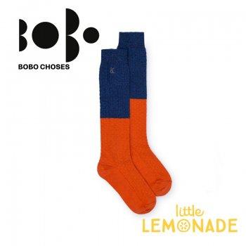 【BOBO CHOSES】ロング ソックス ジュニア ブルー×オレンジ(12.5-14cm/14.5-16cm 16.5-18cm)(218151) AW