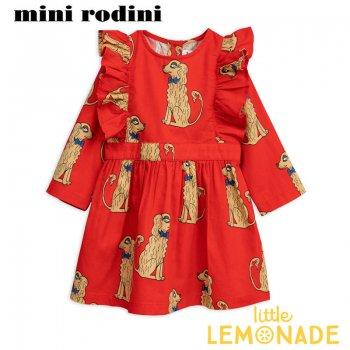 【Mini Rodini】 アメリカンコッカースパニエル ワンピース  【116/122】 5-7歳  Spaniels woven ruffled dress SALE