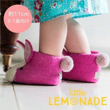【Sew Heart Felt】0〜1歳用 ピンクのうさぎのルームシューズ