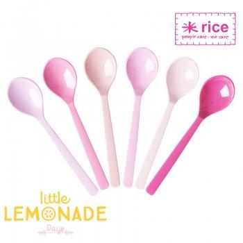 【RICE】メラミンショートスプーン6本セット/ピンク×ピンク (MESFO-6SIXC)