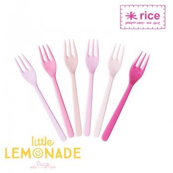 【RICE】メラミンショートケーキフォーク6本セット/ピンク×ピンク (MESFO-6IXC)