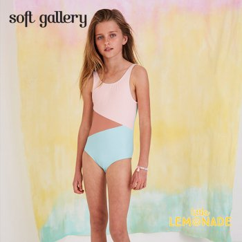 【Soft gallery】 トリコロールカラー ワンピース 水着 【4歳/6歳/8歳】 tricolor 子供用 (575-327-000) SS SALE