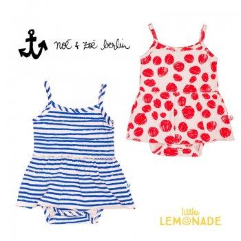 【Noe & Zoe】スカート付きタンクボディ【12-18m/18-24m】red dots・blue stripes ワンピース ブルマ ロンパース (S19006)SS SALE