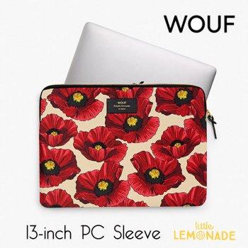 【WOUF】13インチ PCケース【Red Poppy】 赤いポピー 花柄 パソコン用スリーブ(WOOUF!) (S190005)