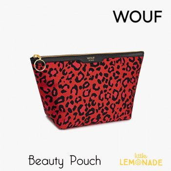 【WOUF】化粧品ポーチ 【Red Leopard】Big Beauty サテン生地 赤 レオパード ヒョウ柄  (WOOUF!) (MB180009)