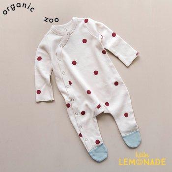 【organic zoo】 バーガンディドット 足付きカバーオール ベビースーツ 新生児/3か月/6か月 Burgundy Dots Suit オーガニックズー BDSLOZ
